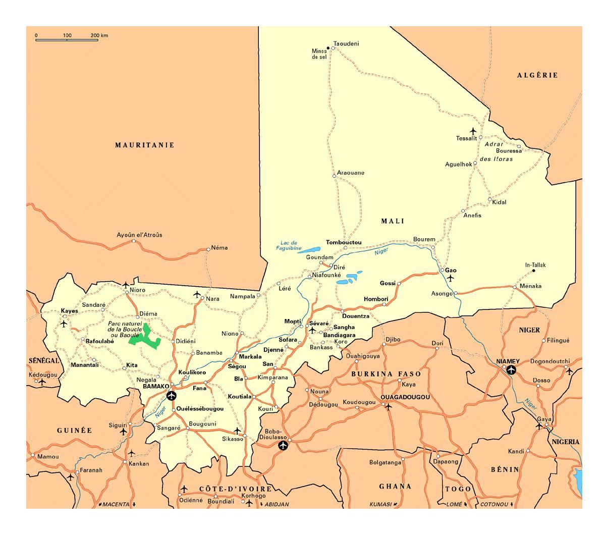 Mali Städte-map - Karte von Mali Städte (West-Afrika - Afrika)